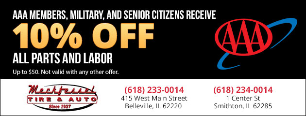 AAA Members, Military, Senior Citizens Receive 10% off all parts and labor