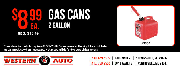 Special on 2 Gallon Gas Cans