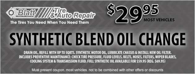 Synthetic Blend Oil Change - $29.95