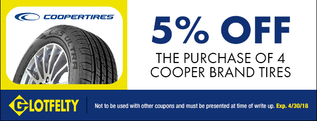 5% Off The Purchase of 4 Cooper Brand Tires