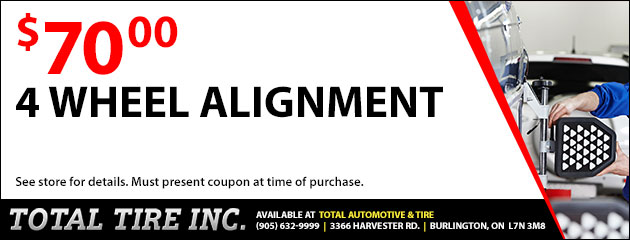 4 Wheel Alignment Special $70.00