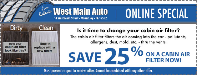 Save 25% On a Cabin Air Filter Now!