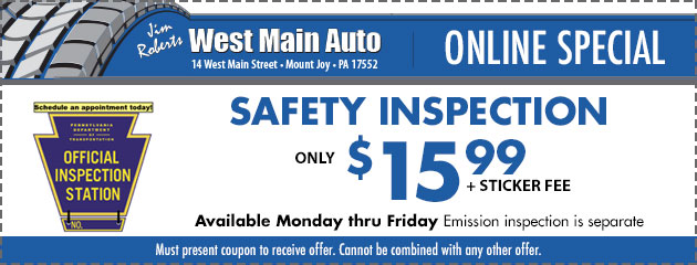 Safety Inspection ONLY $15.99 + sticker fee
