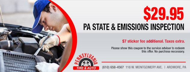 $29.95 PA State and Emissions Inspection