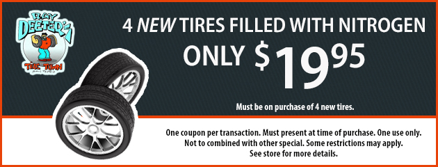 4 New Tires filled with Nitrogen for Only - $19.95