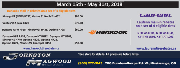 Hankook and Laufenn Tire Rebate Special