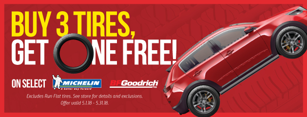 Buy 3 Tires, Get One FREE on Select Michelin and BFGoodrich Tires