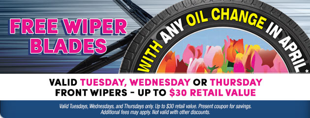 Free Wiper Blades with any Oil Change Special
