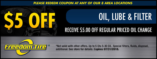 $5 Off Oil, Lube & Filter Special