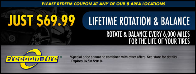 $69.99 Lifetime Tire Rotation and Balance Special