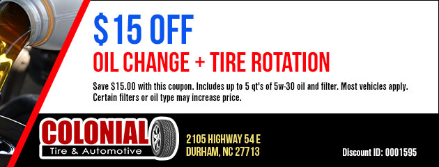 $15 Off Oil Change + Tire Rotation