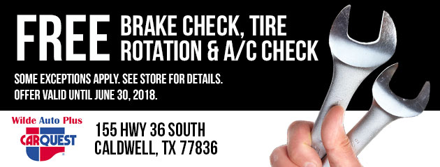 Free Brake Check, Tire Rotation, and A/C Check