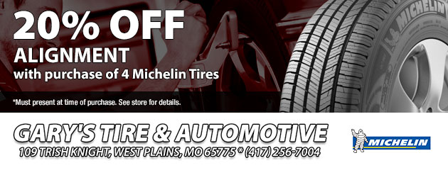 20% off alignment with purchase of 4 Michelin Tires