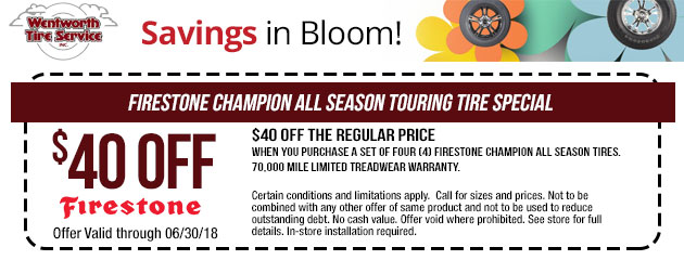 Save $40 on Firestone Champion All Season Touring Tires