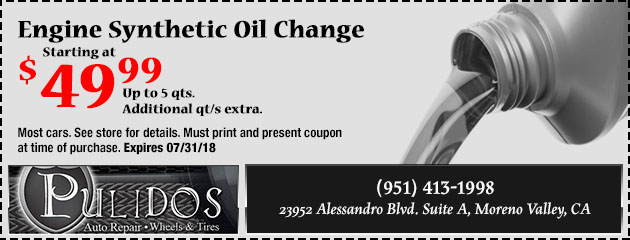 Engine Synthetic Oil Change Starting at $49.99