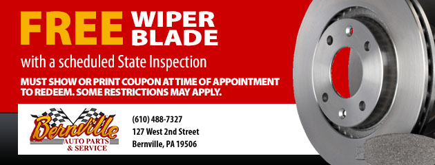 Free Wiper Blade with a scheduled State Inspection