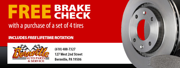 Free Brake Check with a purchase of a set of 4 tires