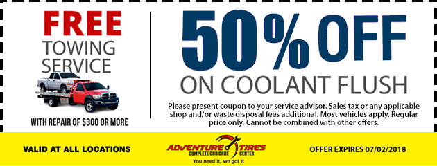 Free Towing Special and 50% Off Coolant Flush