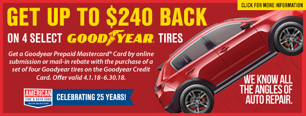 Get up to $240 Back on 4 Select Goodyear Tires