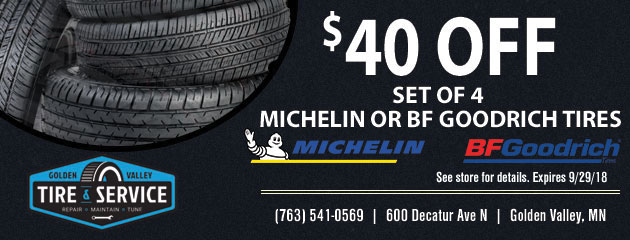 $40 Off Michelin and BF Goodrich Tires