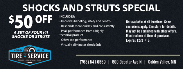 $50 Off Set of 4 Shocks and Struts