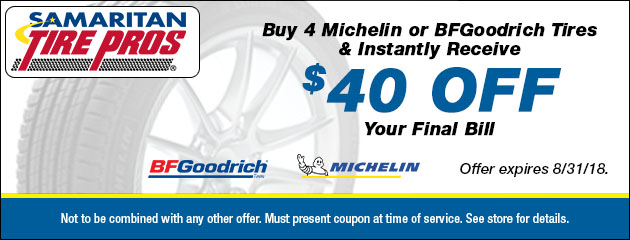 Save $40 Instantly when you buy 4 Michelin or BFGoodrich Tires