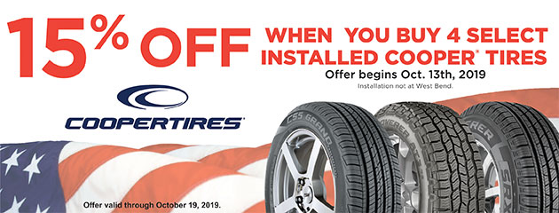 15% Off When You Buy 4 Select Installed Cooper Tires