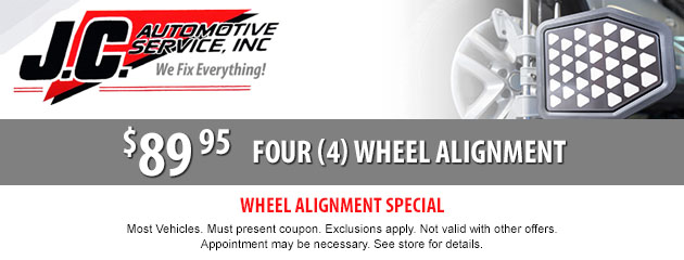 4 Wheel Alignment Special $89.95