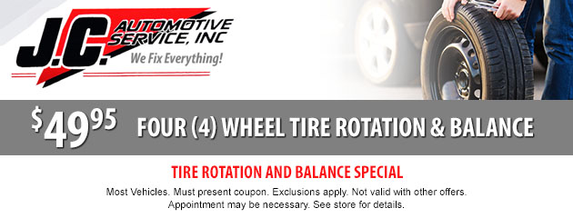 4 Wheel Tire Rotation & Balance Special $49.95