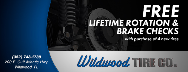 Free Lifetime Rotation and brake checks with purchase of 4 new tires