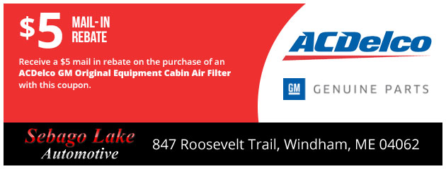 $5 Mail in Rebate on ACDelco GM Original Equipment Cabin Air Filter
