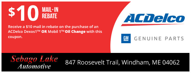 $10 Mail in Rebate on ACDelco Dexos1™ or Mobil 1™ Oil Change