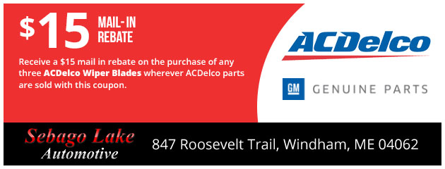 $15 Mail in Rebate on ACDelco Wiper Blades
