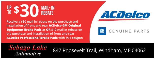 Up to $30 Mail in Rebate on ACDelco GM Original Equipment Brake Pads
