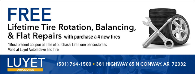 Free Lifetime Tire Rotation, Balancing, and Flat Repairs with purchase a 4 new Tires