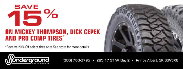 Save 15% on Mickey Thompson, Dick Cepek and Pro Comp Tires