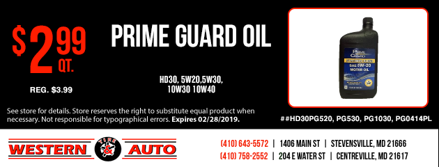 Prime Guard Oil $2.99 each