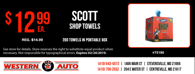 Scott Shop Towels $12.99 Each
