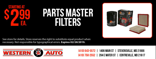 Parts Master Filters Starting at $2.99 each