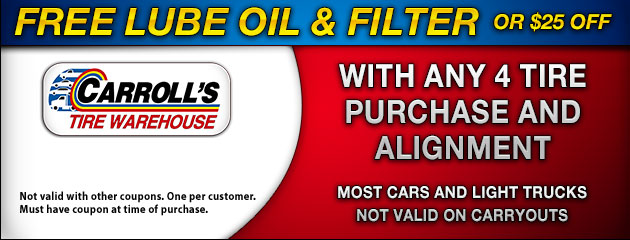 Wheel Alignment Coupons >> Tires Coupons Carroll S Tire Warehouse