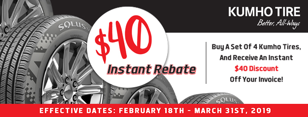 $40 Instant Rebate on Kumho Tires