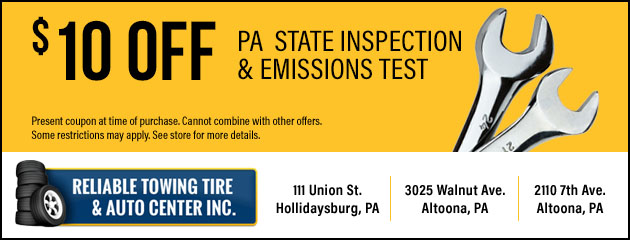 $10 Off PA State Inspection & Emissions Test