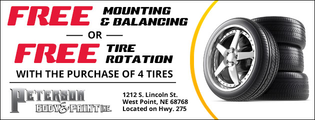 Free Mounting & Balancing or Free Tire Rotation with the purchase of 4 Tires