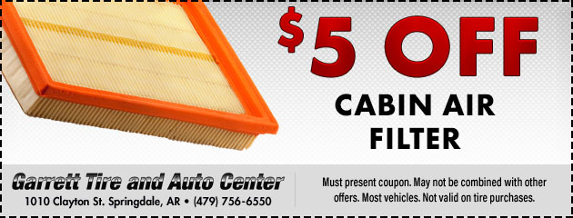 $5 OFF Cabin Filter Service
