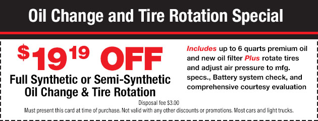 Synthetic Oil Changes and Tire Rotation Special