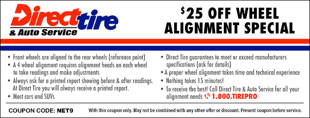 Car Alignment Coupons >> Tires Coupons Direct Tire Auto Service