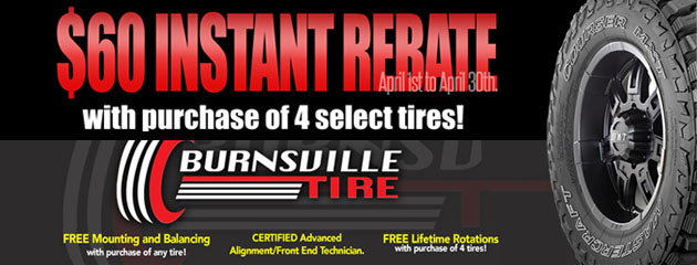 $60 Instant Rebate with purchase of select tires