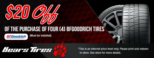 $20 Off a set of 4 BFGoodrich Tires