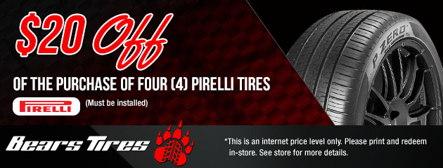 $20 Off a set of 4 Pirelli Tires