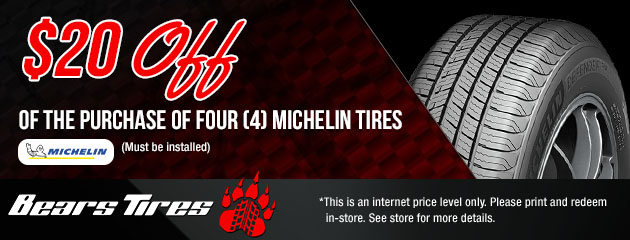 $20 Off a set of 4 Michelin Tires